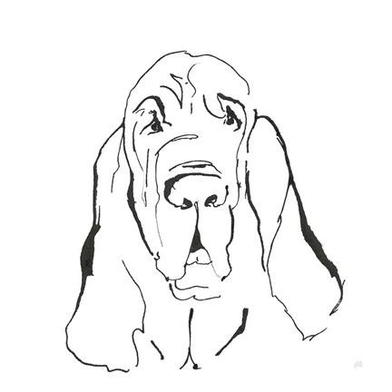 Framed Line Dog Bloodhound I Print