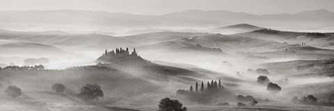 Framed Val d'Orcia panorama, Siena, Tuscany (BW) Print