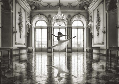 Framed Ballerina in a Palace Hall Print