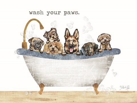Framed Wash Your Paws Print