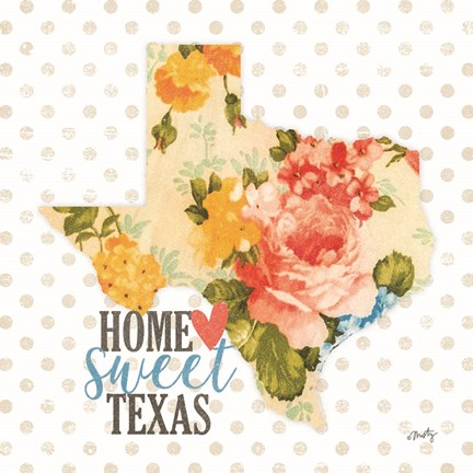 Framed Home Sweet Texas Floral Print