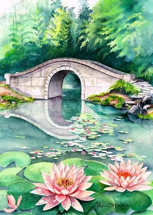 Framed Waterlily Garden Print