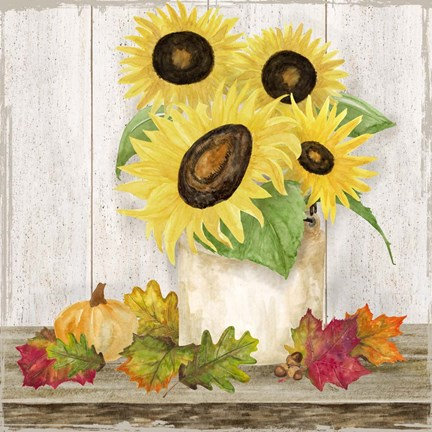 Framed Fall Sunflowers I Print