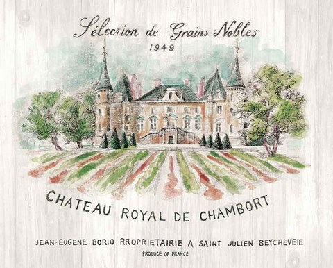 Framed Chateau Chambort on Wood Color Print