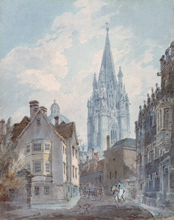 Framed Oxford: St Marys from Oriel Lane, 1792-1793 Print