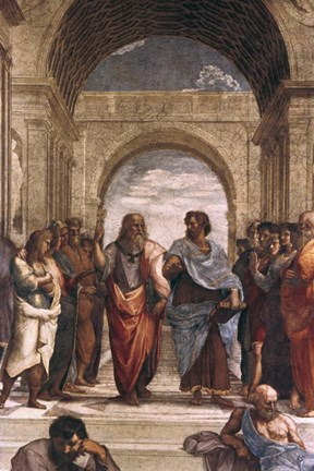 Framed School of Athens, detail of Plato & Aristotle, 1508-1511 Print