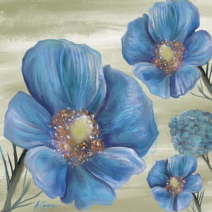 Framed Blue Poppies 2 Print
