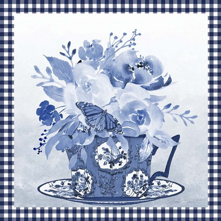 Framed Blue Teacup Bouquet F Print
