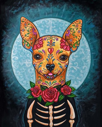 Framed Chihuahua- Day of the Dead Print