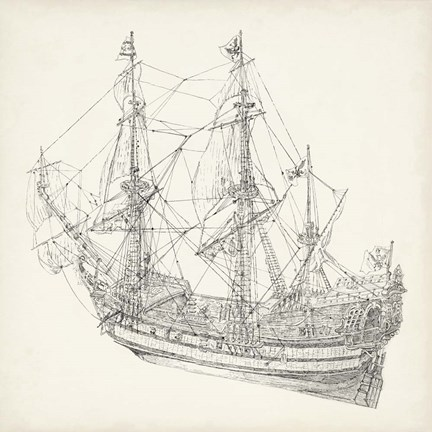 Framed Antique Ship Sketch I Print