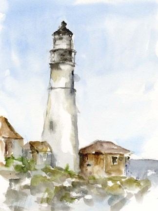 Framed Plein Air Lighthouse Study I Print