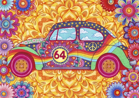 Framed Happy Hippiewagen Print