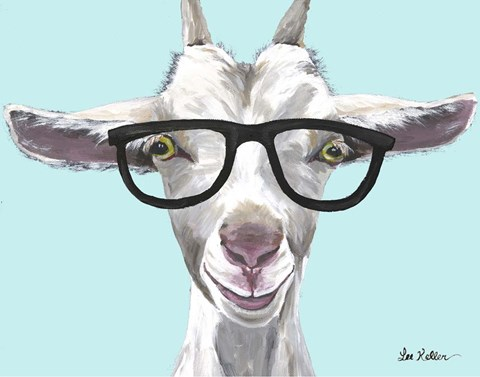 Framed Goat Patsy with Glasses Print
