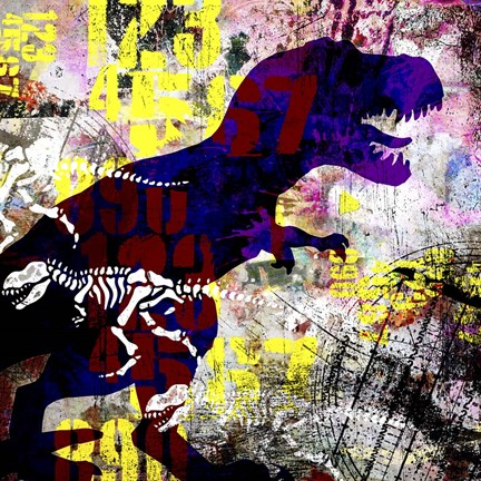 Framed Painted Dino 2 Grunge Print
