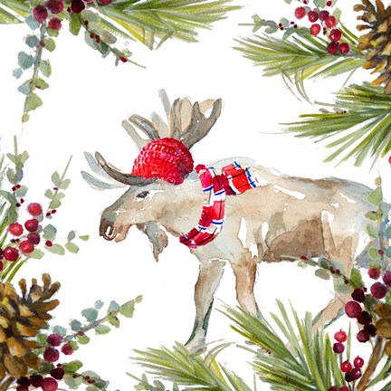Framed Holiday Moose Print