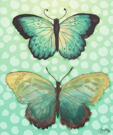 Framed Butterfly Duo in Teal Print