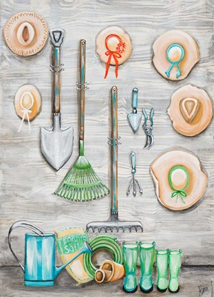 Framed Garden Hats And Tools Print