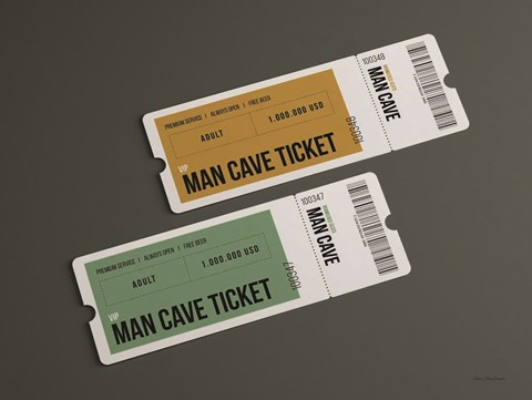 Framed Man Cave Tickets Print