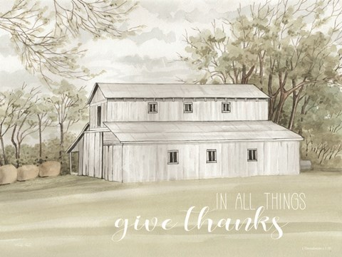 Framed In All Things Give Thanks Print