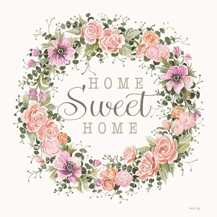 Framed Home Sweet Home Floral Wreath Print