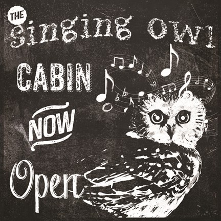 Framed Singing Owl Cabin Print
