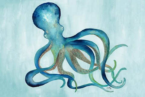 Framed Watercolor Octopus Print