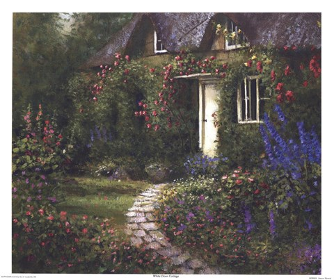 Framed White Door Cottage Print