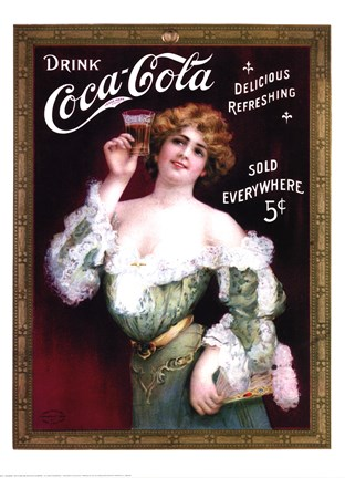 Framed Coca-Cola Lady in Green Dress Print
