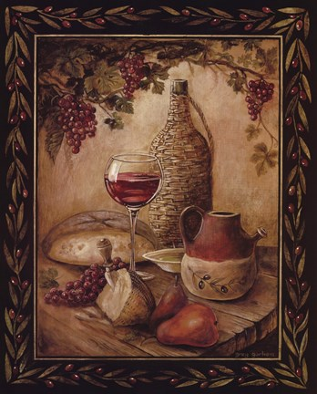 Framed Tuscan Table - Chianti Print