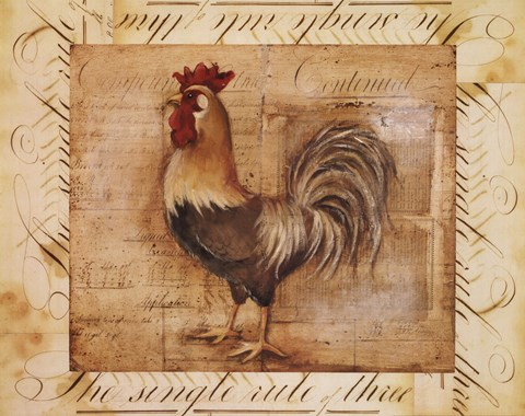 Framed Rustic Farmhouse Rooster II Print
