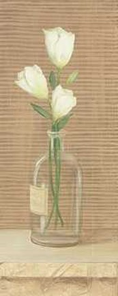 Framed Bottle with Flower 2 Print