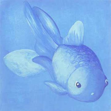 Framed Blue Fish 1 Print