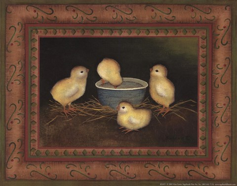 Framed Chicks with Water Print