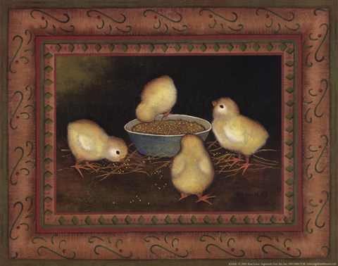 Framed Chicks with Seed Print