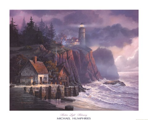 Framed Harbor Light Hideaway Print