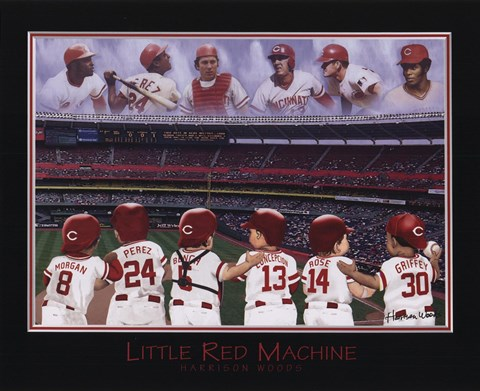Framed Little Red Machine - Rose, Bench, Griffey, Morgan, Perez, Encarnation Print