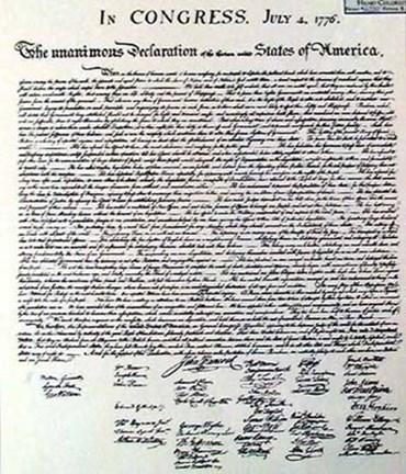 Framed Declaration Of Independence Document Print