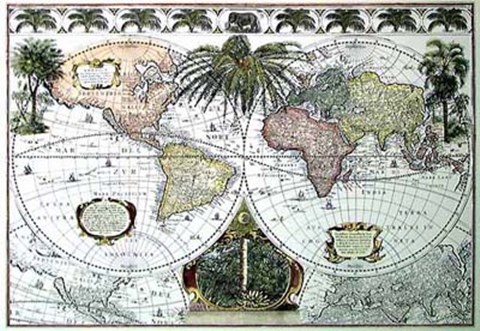 Map of the World with Palms, c.1700\'s Hand Colored Print by ...