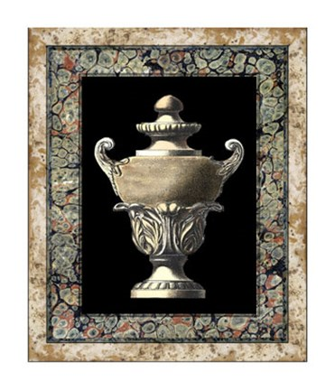 Framed Urn on Marbleized Background I Print