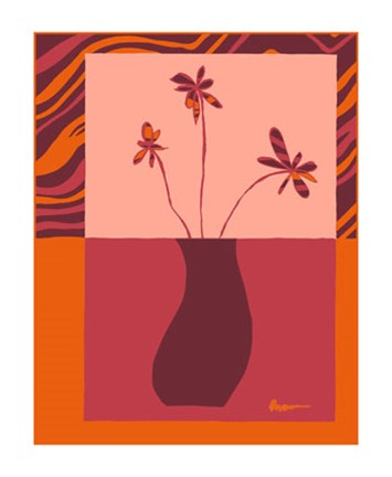 Framed Minimalist Flowers in Orange III Print