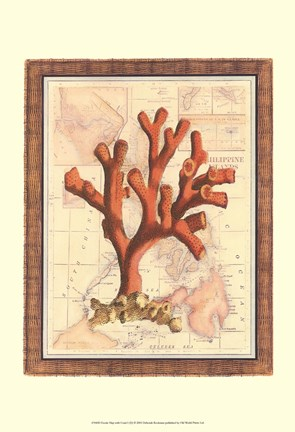 Framed Exotic Map with Coral I (D) Print