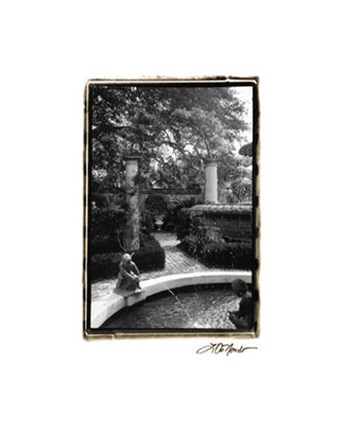 Framed Garden Fountain I Print