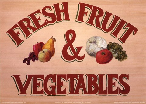 Framed Fruits & Vegetables Sign Print