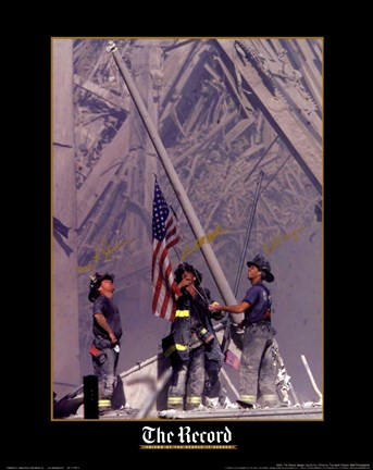 Framed Firemen Raising the Flag at World Trade Center Print
