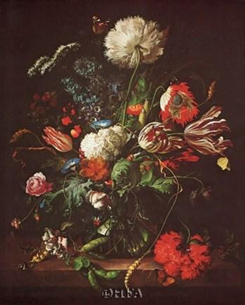 Vase Of Flowers Fine Art Print By Jan Davidsz De Heem At