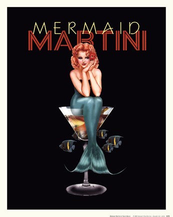 Framed Mermaid Martini Print