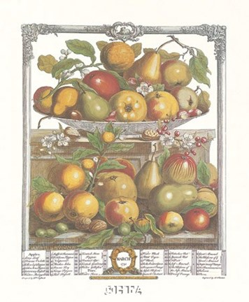 Framed March/Twelve Months of Fruits, 1732 Print