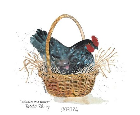 Framed Chicken in a Basket Print