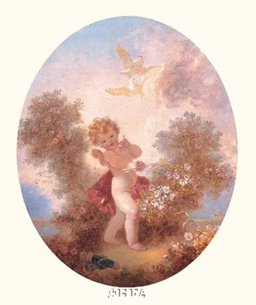 Framed Cupid Between Roses Print