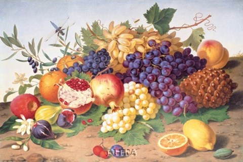 Framed Still Life of Grapes, Pineapple, Figs Print